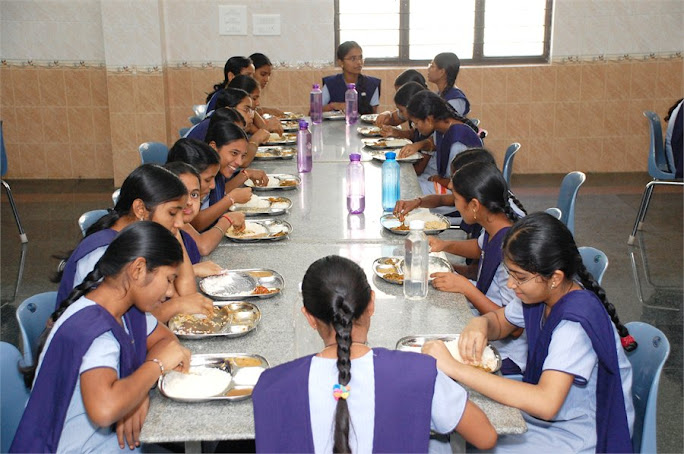 students in the mess hall