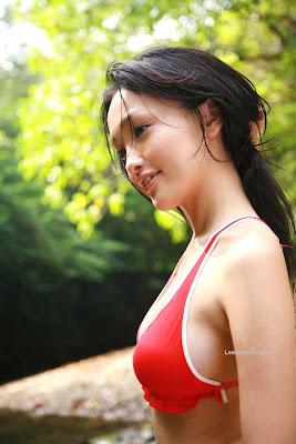 Reon Kadena Sexy Red Bikini Display