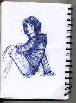 croquis au stylo bic fille assise