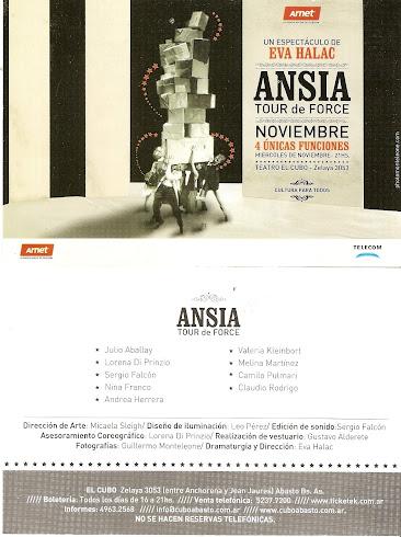 ANSIA, Tour de Force - Compañia Eva Halac - Teatro El Cubo