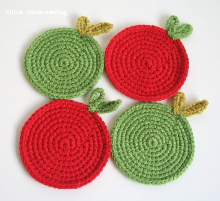 Crochet Fruit Coasters Free Pattern : chick chick sewing: Crocheted green apple coasters
