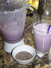 Our Delish banana, blackberry protein smoothie with chia seeds.