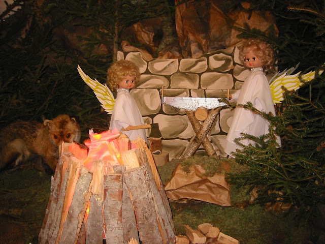 Angels in Nativity Scene in St. Peter Church (Ternopil city, Western Ukraine)