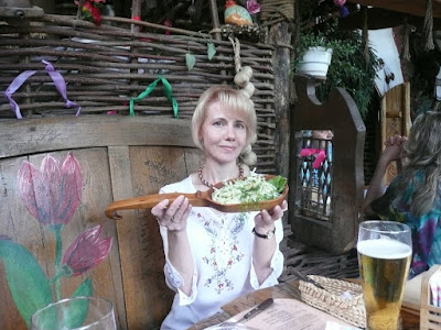 Old Mill Restaurant in Ternopil (West Ukraine): Fresh cabbage salad in cute wooden bowl
