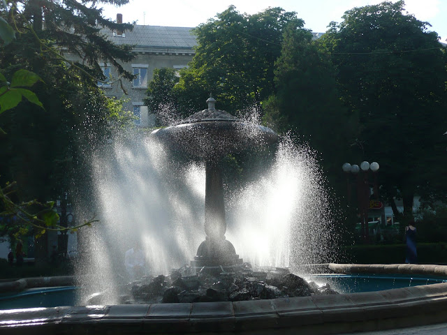 Fountain in the city centre of Ternopil (West Ukraine)