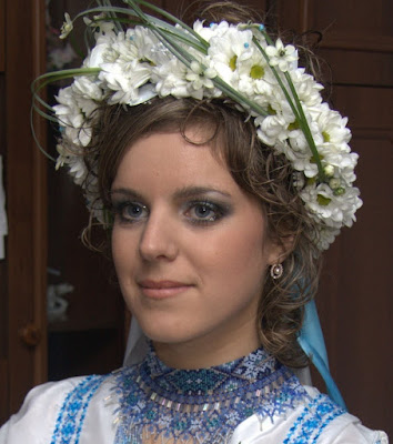 Beautiful Ukrainian Bride In Wreath With Real Camomiles
