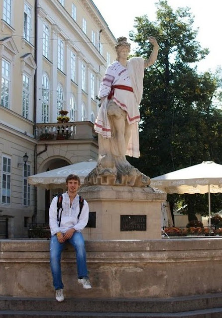 Ancient Statue Ukrainian Outfit Lviv West Ukraine