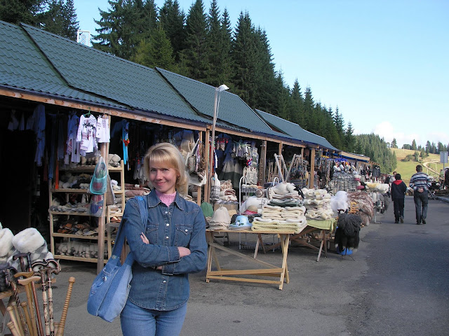 Yablunivskyy Pereval Craft Market In Ukrainian Carpathians