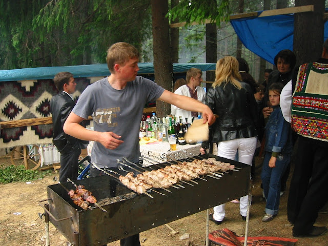 Ukrainian Barbeque Shish Kebab Hutsul Festival Carpathian Mountains