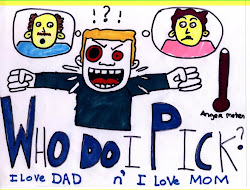 This is a 12 year old's drawing of what his parents divorce felt like to him...