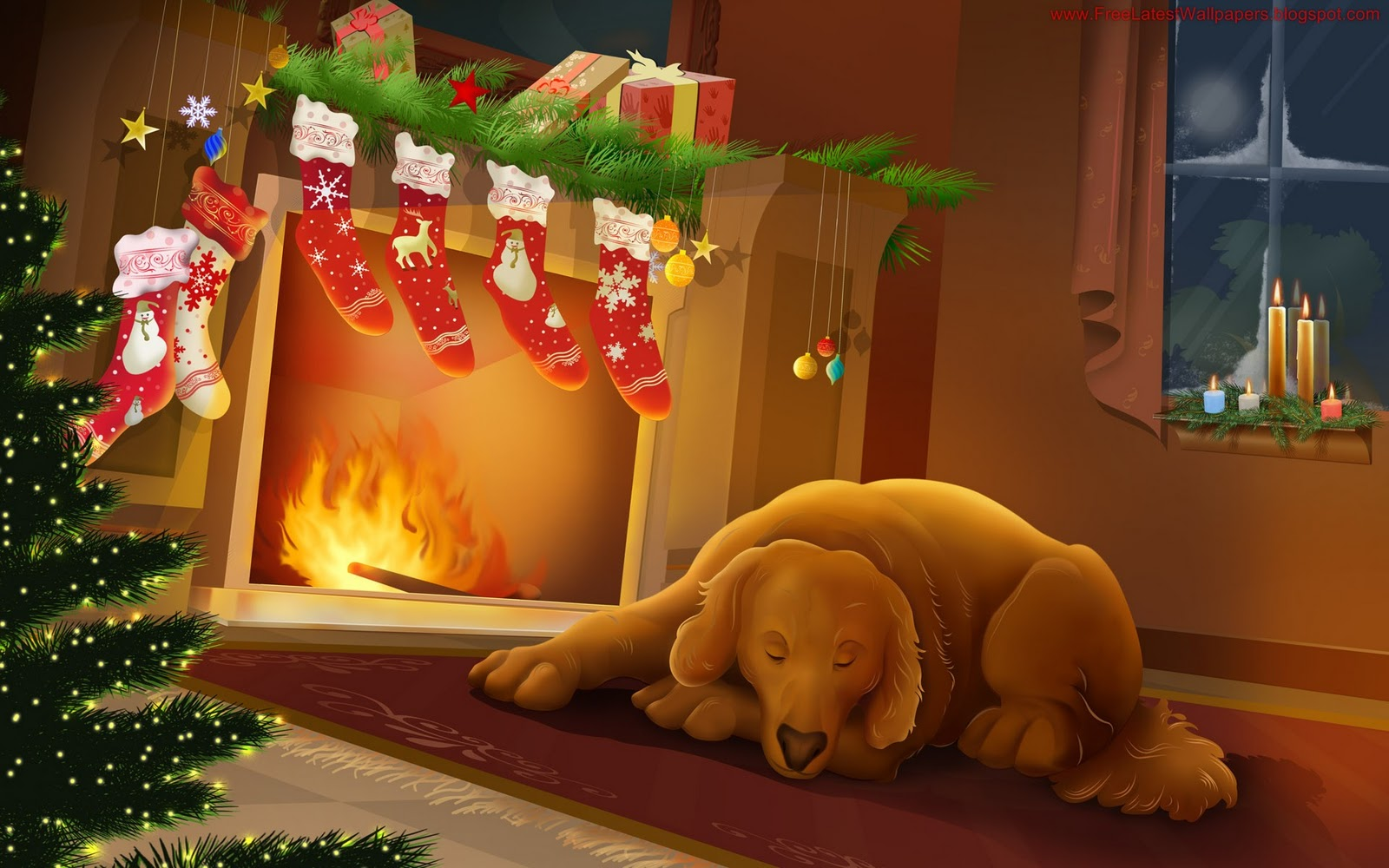 ilona wallpapers: Cozy Christmas Fireplace Wallpaper
