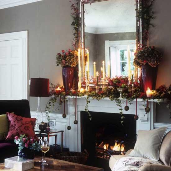 Decora y disena decoraci n de la chimenea para navidad - Decoracion para chimeneas ...