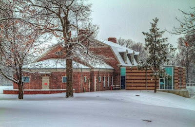 The Garfield Park Arts Center in the snow.