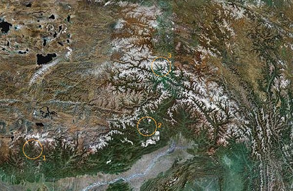 map of himalayas. Bhutan Himalayas