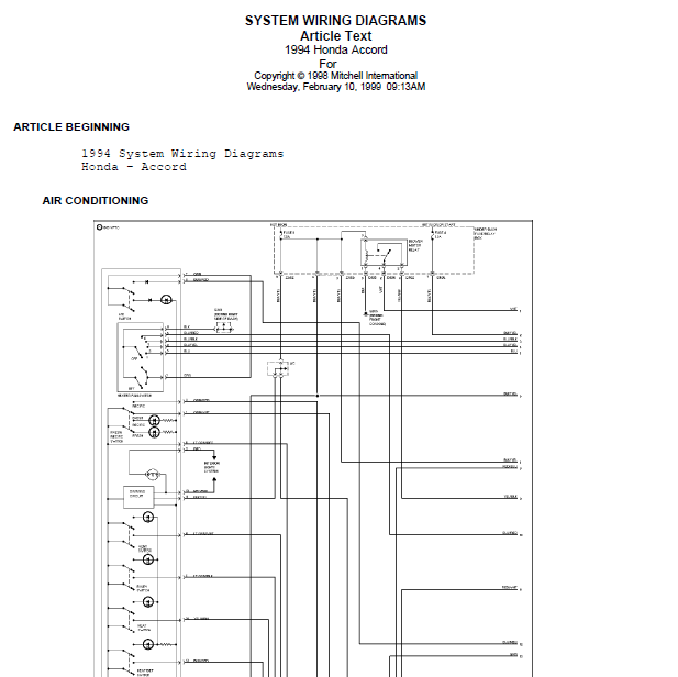 repairmanuals  1996 Honda    Accord    Wire Diagrams