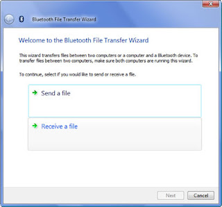 Windows Vista Bluetooth File Transfer Wizard: Receive a file