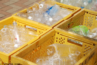 The way we throw away the used plastic bottles at home, in Tokyo