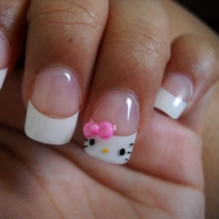 Cute French manicure and Hallo kity Nails Designs