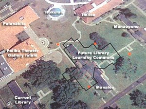 Satellite shot showing approximate placement of the new building on campus