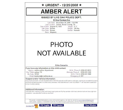 The upshur advocate amber alert erica camacho an amber alert was issued today for erika camacho a hispanic female teenager reportedly abducted in selma tx by her boyfriend ricardo mora sciox Choice Image
