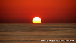 Закат, Средиземное море, красное солнце, Кипр