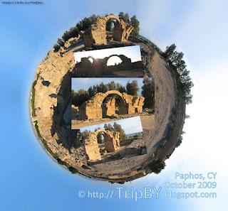 Като Пафос, Кипр, Панорамное фото Саранта Колонес, Kato Pafos, Saranta Colones stereographic panorama by TripBY