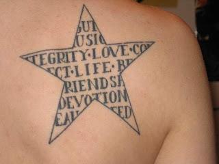 Estrela com prenchimento de palavras incompletas tatuada nas costas na altura das omoplatas - ombro