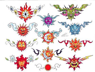 Desenhos para tattoos de sol com serpentes, lua, raios, flores, margaridas e