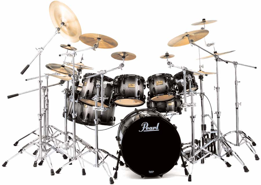 the drum set contains usually