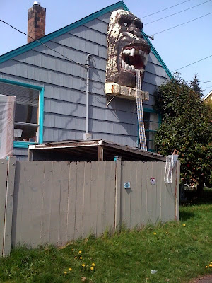 Gorilla on a house!