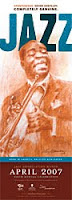 2007 poster for Jazz Appreciation Month by the Smithsonian, featuring Louis Armstrong playing trumpet