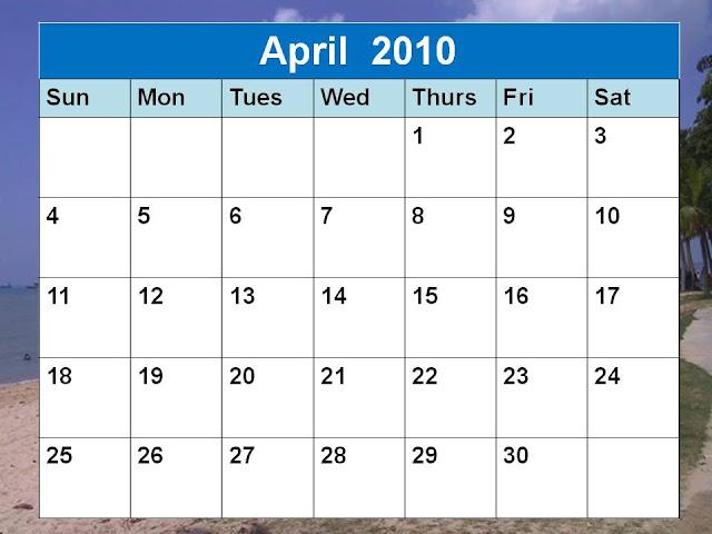 april 2010 calendar printable. April 2010 Calendar Planner