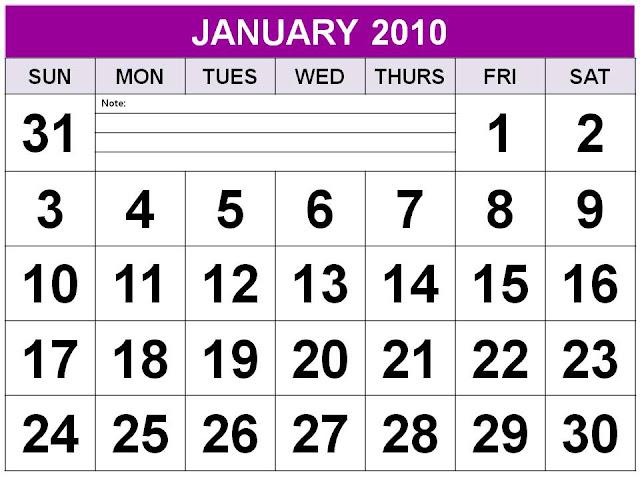 january 2010 printable calendar. Big Font January 2010 Calendar
