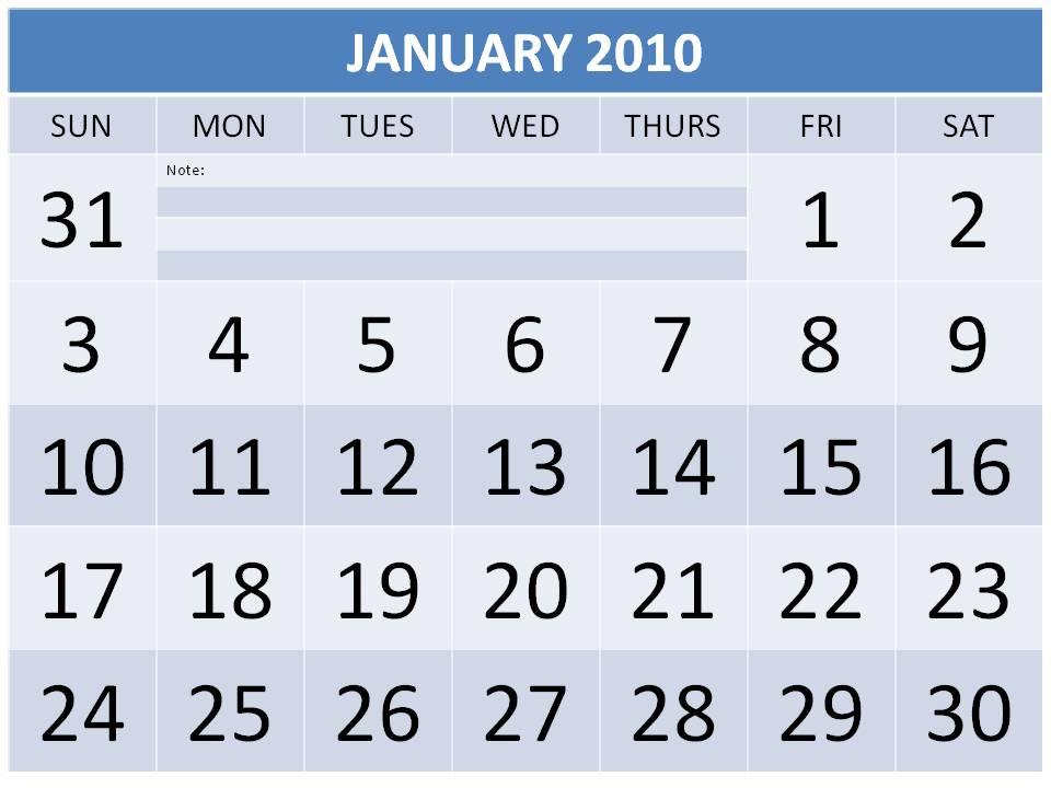 calendar january 2010. january 2010 calendar template