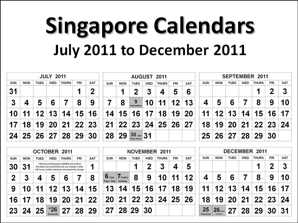july 2011 calendar with holidays. singapore calendars july