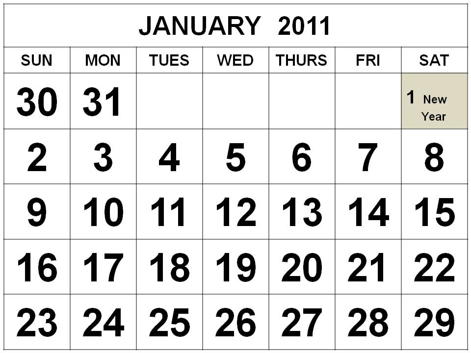 2011 yearly printable calendar
