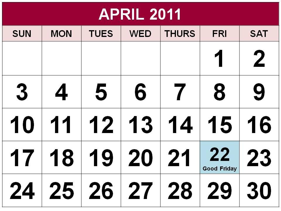 may calendar 2011 singapore. April 2011 Calendar Canada