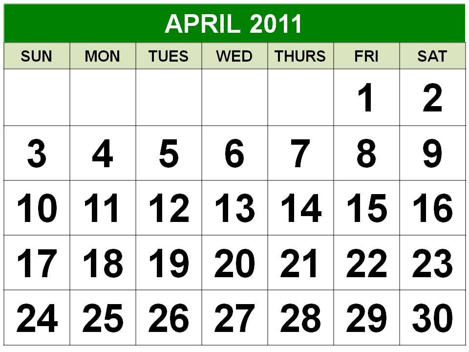 2011 calendar april