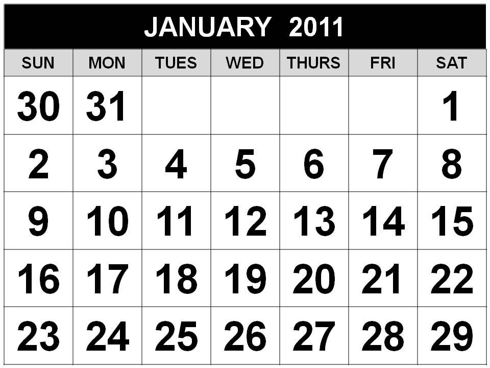 january 2011 calendar word