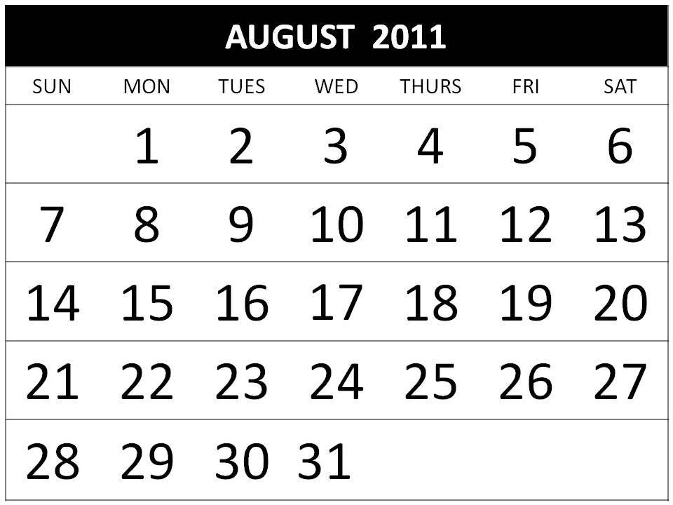 august calendar for 2011. august 2011 printable calendar