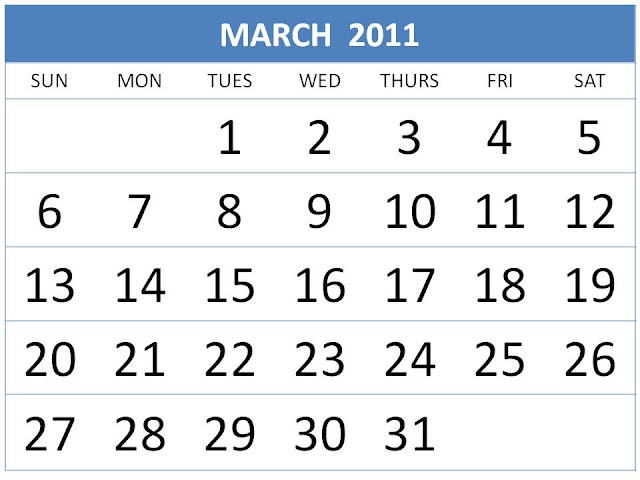 blank march 2011 printable calendar. girlfriend Printable PDF March