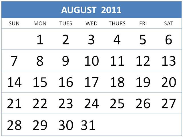 august calendar for 2011. august calendar 2011.