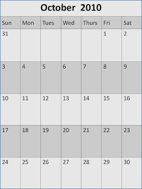 2010 october calendar. Download October Calendar PDF