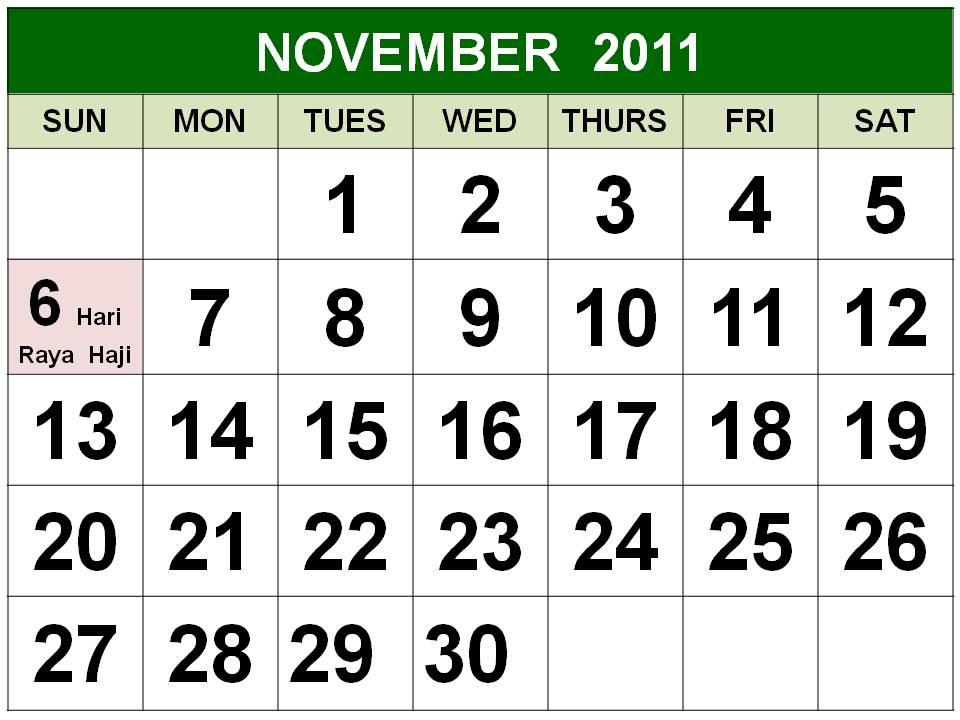 Singapore November 2011 Calendar with Holidays (PH)