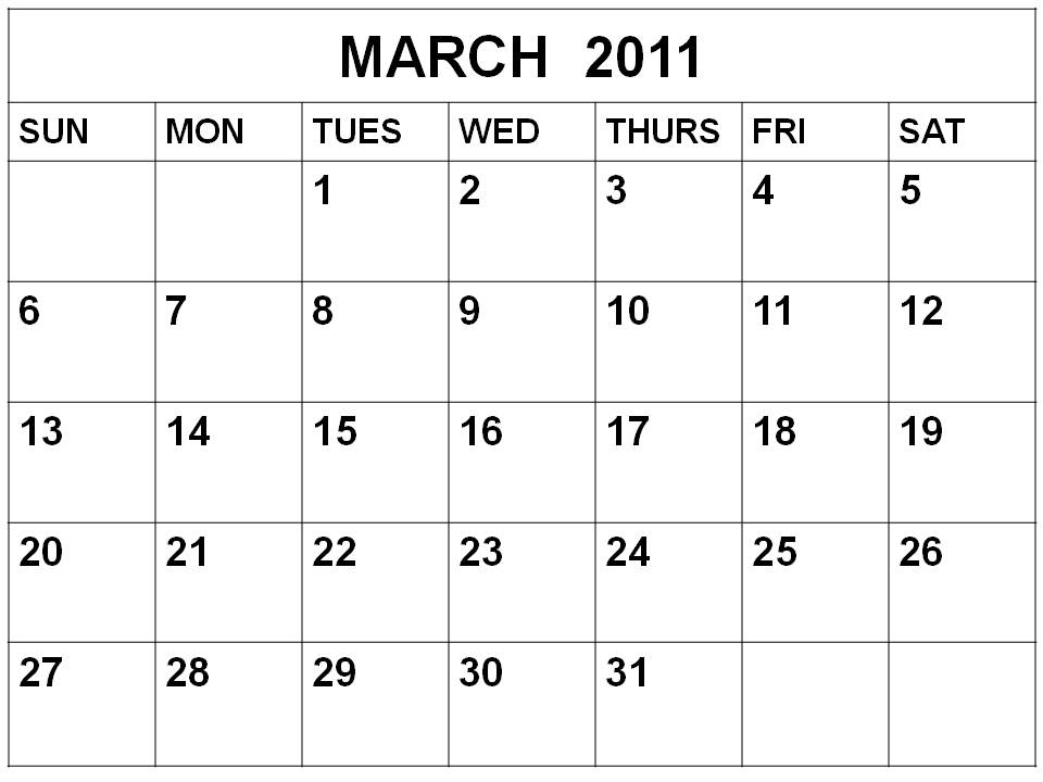 To download and print this Free Monthly Blank Calendar 2011 March: