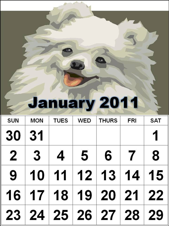 To download and print this Free Monthly Dog Puppies Animals Calendar 2011