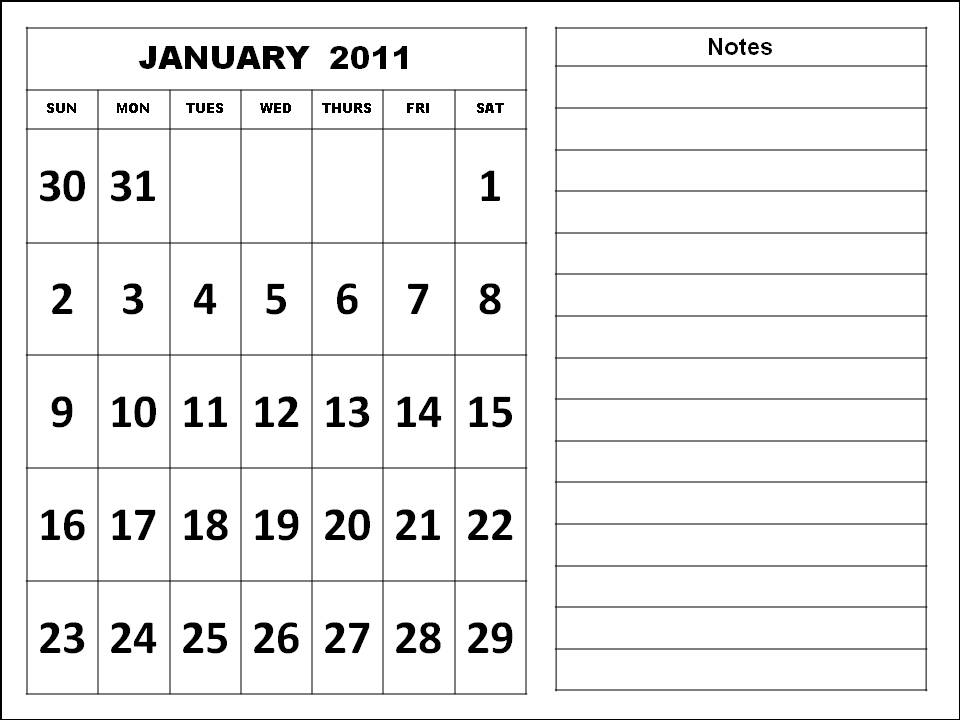 Blank Calendar Planner April 2011