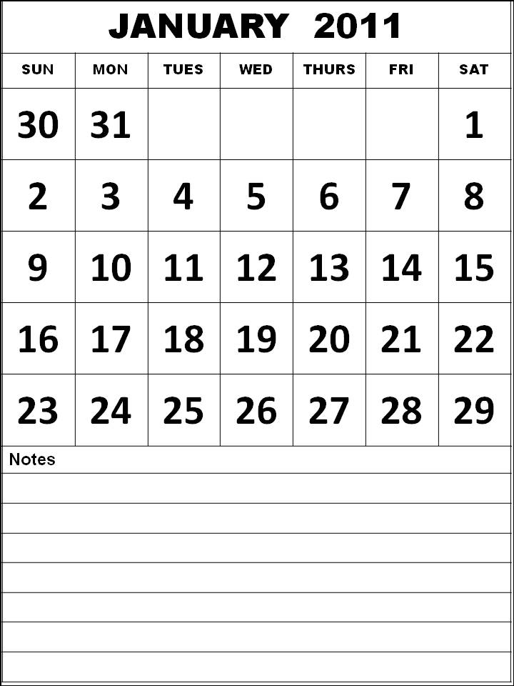 Free Printable January 2011 Calendar with big fonts and notes space
