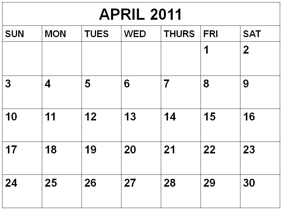2011 calendar. Printable month