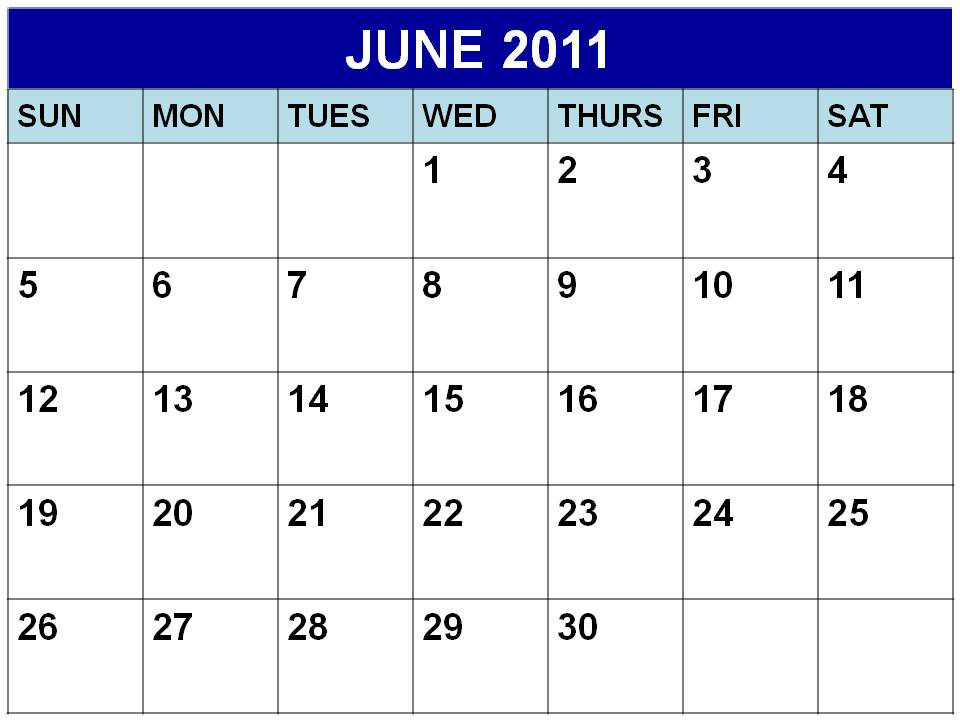 2011 calendar june